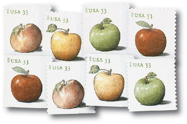 U.S. #4727-34 – Set of 2013 stamps honoring a variety of apples.