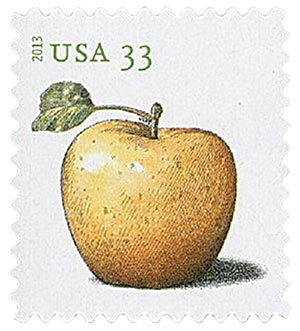 U.S. #4728 – The golden delicious is one of the varieties we have today thanks to Johnny Appleseed.