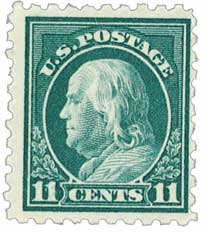 1916-17 11c Franklin, dark green