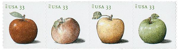 2013 33c Apples coil stamps