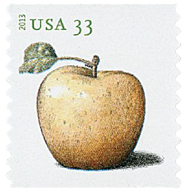 2013 33c Apples coil stamp-Golden Delicious