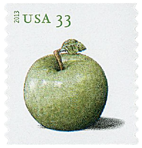 2013 33c Apples coil stamp-Granny Smith