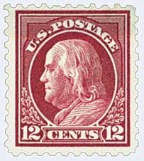 1916-17 12c Franklin, claret brown, perf 10