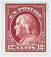 1916-17 12c Franklin, claret brown, perf 10