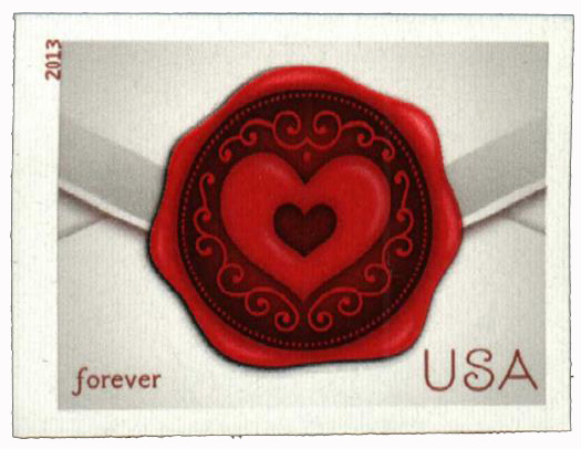2013 First-Class Forever Stamp - Imperforate Love Series: Sealed with Love