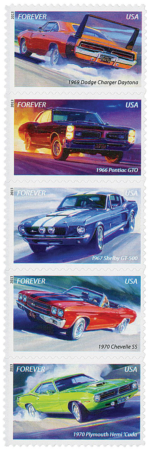 2013 First-Class Forever Stamp - Muscle Cars