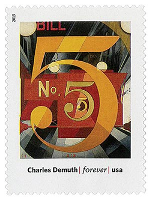 """2013 First-Class Forever Stamp - Modern Art in America: Charles Demuths """"I Saw the Figure 5 in Gold"""""""