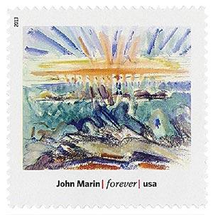 "2013 First-Class Forever Stamp - Modern Art in America: John Marins ""Sunset, Maine Coast"""
