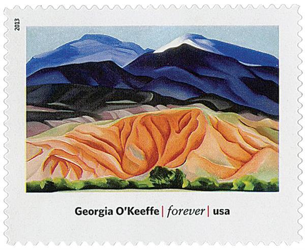 "2013 First-Class Forever Stamp - Modern Art in America: Georgia OKeeffes ""Black Mesa Landscape"""