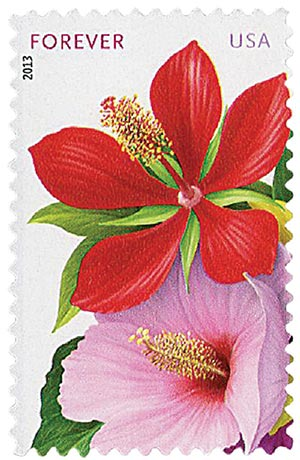 "2013 First-Class Forever Stamp - La Florida: Red and Pink Hibiscus, ""Forever"" in upper left corner"