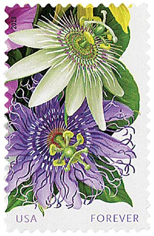 "2013 First-Class Forever Stamp - La Florida: White and Purple Passionflowers, ""Forever"" in lower right corner"