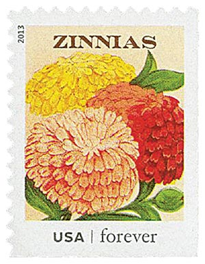 2013 First-Class Forever Stamp - Vintage Seed Packets: Zinnias