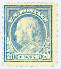 1916-17 20c Franklin, ultramarine, perf 10