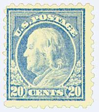1916-17 20c Franklin, ultramarine, perf 10