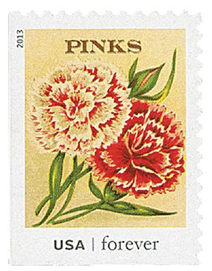 2013 First-Class Forever Stamp - Vintage Seed Packets: Pinks