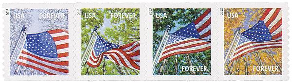 2013 First-Class Forever Stamp - A Flag for All Seasons (Sennett Security Products, coil)