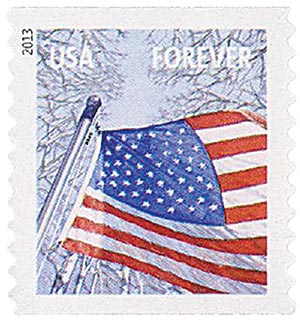 2013 First-Class Forever Stamp - A Flag for All Seasons: Winter (Sennett Security Products, coil)