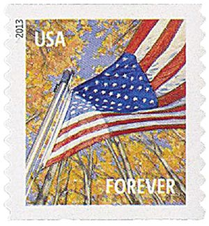 2013 First-Class Forever Stamp - A Flag for All Seasons: Autumn (Sennett Security Products, coil)