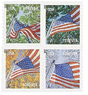 2013 First-Class Forever Stamp - A Flag for All Seasons, APU, block of 4 stamps