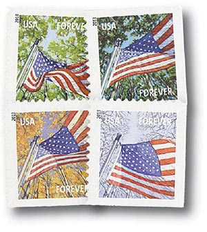2013 First-Class Forever Stamp - A Flag for All Seasons (Sennett Security Products, booklet)