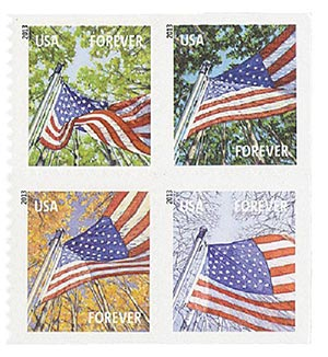 2013 First-Class Forever Stamp - A Flag for All Seasons, SSP, block of 4 stamps