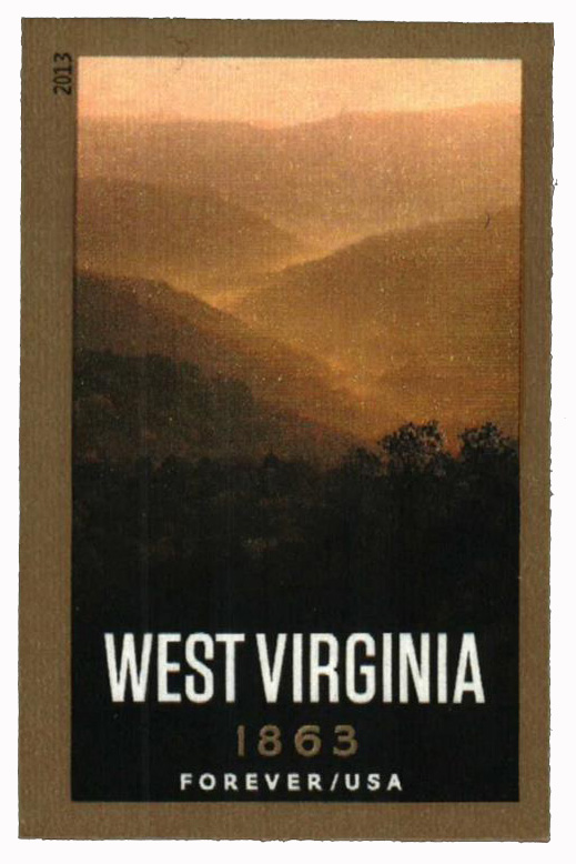 2013 First-Class Forever Stamp - Imperforate Statehood: West Virginia Sesquicentennial