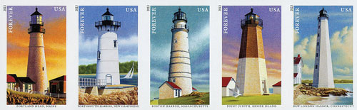 2013 First-Class Forever Stamp - Imperforate New England Coastal Lighthouses
