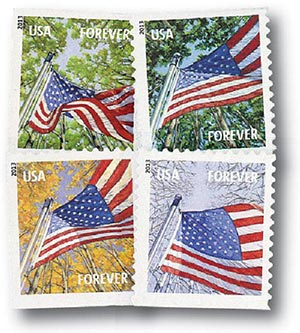 2013 First-Class Forever Stamp - A Flag for All Seasons (Avery Dennison, booklet)