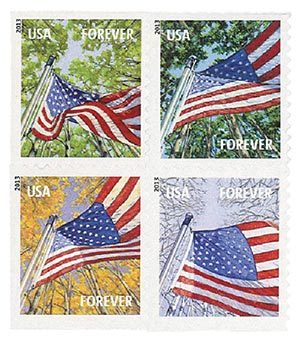 2013 First-Class Forever Stamp - A Flag for All Seasons, AVR, block of 4 stamps