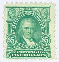1916-17 $5 Marshall, light green