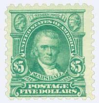 1916-17 $5 Marshall, light green