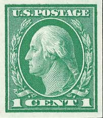 1916 1c Washington, green, imperforate