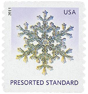2013 10c Snowflakes: Lilac Background