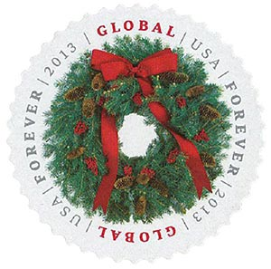 2013 Global Forever Stamp - Evergreen Wreath