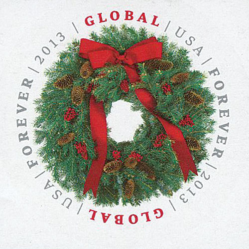 2013 $1.10 Imperf Evergreen Wreath