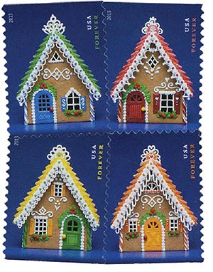2013 First-Class Forever Stamp - Contemporary Christmas: Gingerbread Houses