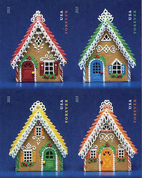 2013 First-Class Forever Stamp - Imperforate Contemporary Christmas: Gingerbread Houses