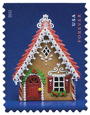 2013 First-Class Forever Stamp - Contemporary Christmas: Gingerbread House with Red Roof and Door