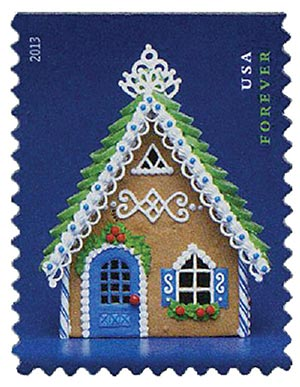 2013 First-Class Forever Stamp - Contemporary Christmas: Gingerbread House with Green Roof and Blue Door