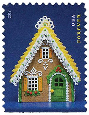 2013 First-Class Forever Stamp - Contemporary Christmas: Gingerbread House with Yellow Roof and Green Door