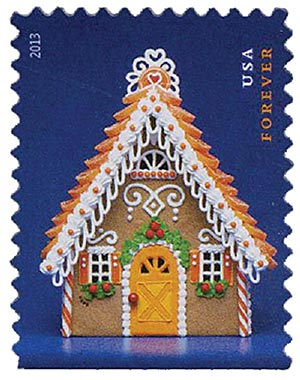 2013 First-Class Forever Stamp - Contemporary Christmas: Gingerbread House with Orange Roof and Door