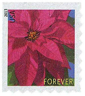 2013 First-Class Forever Stamp - Poinsettia (Avery Dennison)