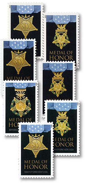 2013-15 Medal of Honor, collection of 7 stamps