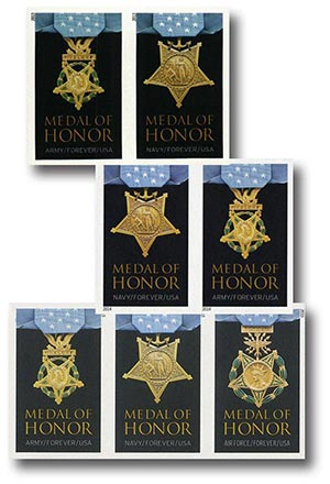 2013-15 Medal of Honor, 7 Imperf. Stamps