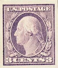 1916-17 3c Washington, violet, imperforate, type I