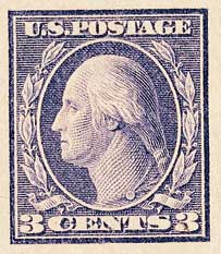 1918 3c Washington, violet, imperforate, type II