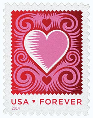 2014 First-Class Forever Stamp - Love Series: Cut Paper Heart