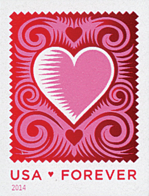 2014 First-Class Forever Stamp - Imperforate Love Series: Cut Paper Heart