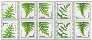 2014 49c Ferns, collection of 10 stamps