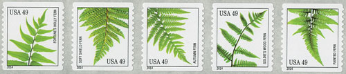 2014 49c Ferns, coil stamps